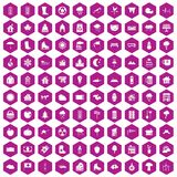100 country house icons hexagon violet. 100 country house icons set in violet hexagon isolated vector illustration vector illustration