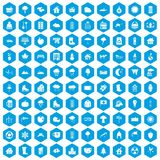 100 country house icons set blue. 100 country house icons set in blue hexagon isolated vector illustration vector illustration