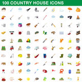 100 country house icons set, cartoon style. 100 country house icons set in cartoon style for any design vector illustration Stock Image