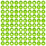 100 country house icons set green circle. Isolated on white background vector illustration Stock Images