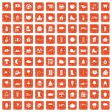 100 country house icons set grunge orange. 100 country house icons set in grunge style orange color isolated on white background vector illustration Stock Images