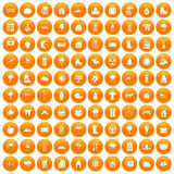 100 country house icons set orange. 100 country house icons set in orange circle isolated on white vector illustration Stock Images