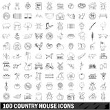 100 country house icons set, outline style Stock Photography