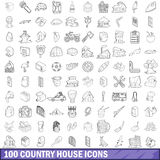 100 country house icons set, outline style Stock Images