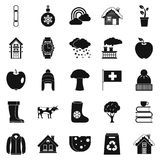Country house icons set, simple style. Country house icons set. Simple set of 25 country house vector icons for web isolated on white background Stock Images