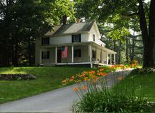 Country house on July 4th. A country house in New England decorated for the 4th of July stock images