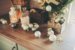 Country house kitchen decorated for Christmas and new year Holidays Stock Photos
