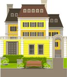 Country house. Large country house with flower beds and lawn on a white background Stock Photo