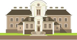 Country house. Large country house with flower beds and lawn white background Stock Photo