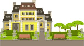 Country house. Large country house with flower beds and lawn white background Royalty Free Stock Image
