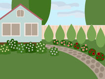 Country house with lawn. And blooming flowers in the yard. No mesh, gradient, transparency used. Objects grouped and named in English Stock Photos