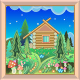 Country House in the magic forest picture in the frame Stock Photo
