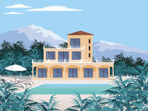 Country house in the mountains. Abstract image of a large, beautiful country house. Luxury Villa in the mountains surrounded by tropical plants. Vector Royalty Free Stock Photo