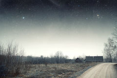 Country house at night. Royalty Free Stock Photos