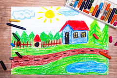 Country house. Oil pastels drawing : country house Stock Photography
