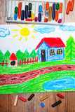 Country house. Oil pastels drawing : country house Royalty Free Stock Image