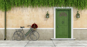 Country house with old door and bicycle. With bouquet of roses in a wicker basket - 3d rendering royalty free illustration