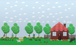 Country house, planting vegetables concept vector illustration in flat style. Stock Photography