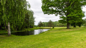 Country house with pond and oak trees with pond Stock Photography