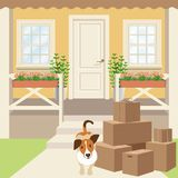 Country house porch with panel door, windows and plants. Driveway, cardboard boxes and puppy dog. Stock Image