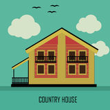 Country House in retro colors on a green background Royalty Free Stock Image
