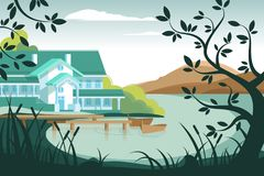 Country house on river bank. Berth with wooden boats. Vector illustration Stock Photos