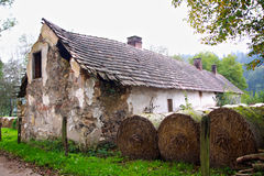 Country house. Roadside with straw bales Stock Images