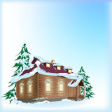 Country house in snow. Illustration Stock Images