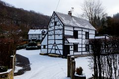 Country house snow, Gendron-Celles, Belgium stock photography