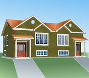 Country house for two families. Project simple and comfortable home. Typical building. Architectural design. Illustration vector Royalty Free Stock Photos