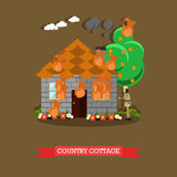 Country house vector illustration in flat style. Vector illustration of firefighter in protective clothing and helmet extinguishing fire in country house Stock Images