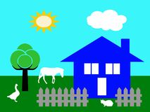 Country house vector in the nature with farm animals. And blue sky background Stock Photo