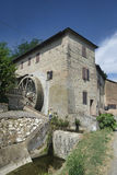 Country house with watermill near Castell`Arquato. Country landscape at summer along the road from Fiorenzuola d`Arda to Castell`Arquato Piacenza, Emilia-Romagna Royalty Free Stock Photos