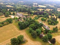 Country House in West Sussex. Aerial view of the Sedgwick Park estate in West Sussex, England stock image
