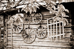 Country house and wheels - retro Stock Image
