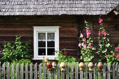 Country house window. Window of a wooden country house in lithuania Stock Photos