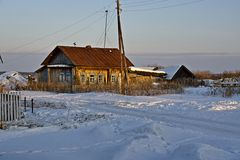 Country house in winter Royalty Free Stock Photos