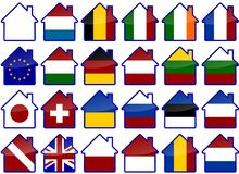 Country Houses. A set of house symbols with design of colorful flags of different countries in the world Stock Photo