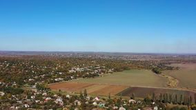 Country houses. Autumn. Aerial drone footage stock footage