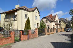 Country houses in the cottage settlement in Kaliningrad, Russia Royalty Free Stock Photo
