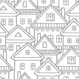 Country houses. Seamless vector border pattern. Village illustration stock illustration