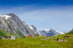 Country houses in village in Norway on sunny day Stock Image