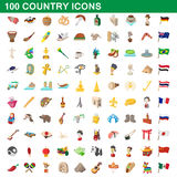 100 country icons set, cartoon style Stock Photography
