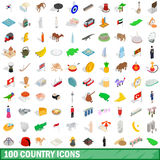 100 country icons set, isometric 3d style. 100 country icons set in isometric 3d style for any design vector illustration Stock Images