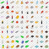 100 country icons set, isometric 3d style. 100 country icons set in isometric 3d style for any design vector illustration Stock Photography