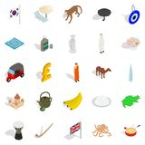 Country icons set, isometric style. Country icons set. Isometric set of 25 country vector icons for web isolated on white background Stock Images