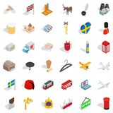 Country icons set, isometric style. Country icons set. Isometric style of 36 country vector icons for web isolated on white background Stock Images