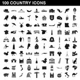 100 country icons set, simple style Royalty Free Stock Photo
