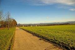 Country idyll with view to German highlands royalty free stock photography