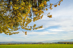 Country idyll with view to German highlands Royalty Free Stock Images